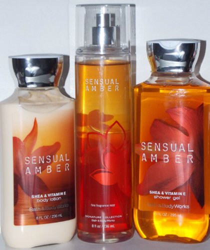 3 Piece Bath & Body Works Sensual Amber Fragrance Gift Set- Fragrance Mist, Shower Gel, and Body Lotion (Sensual Amber)