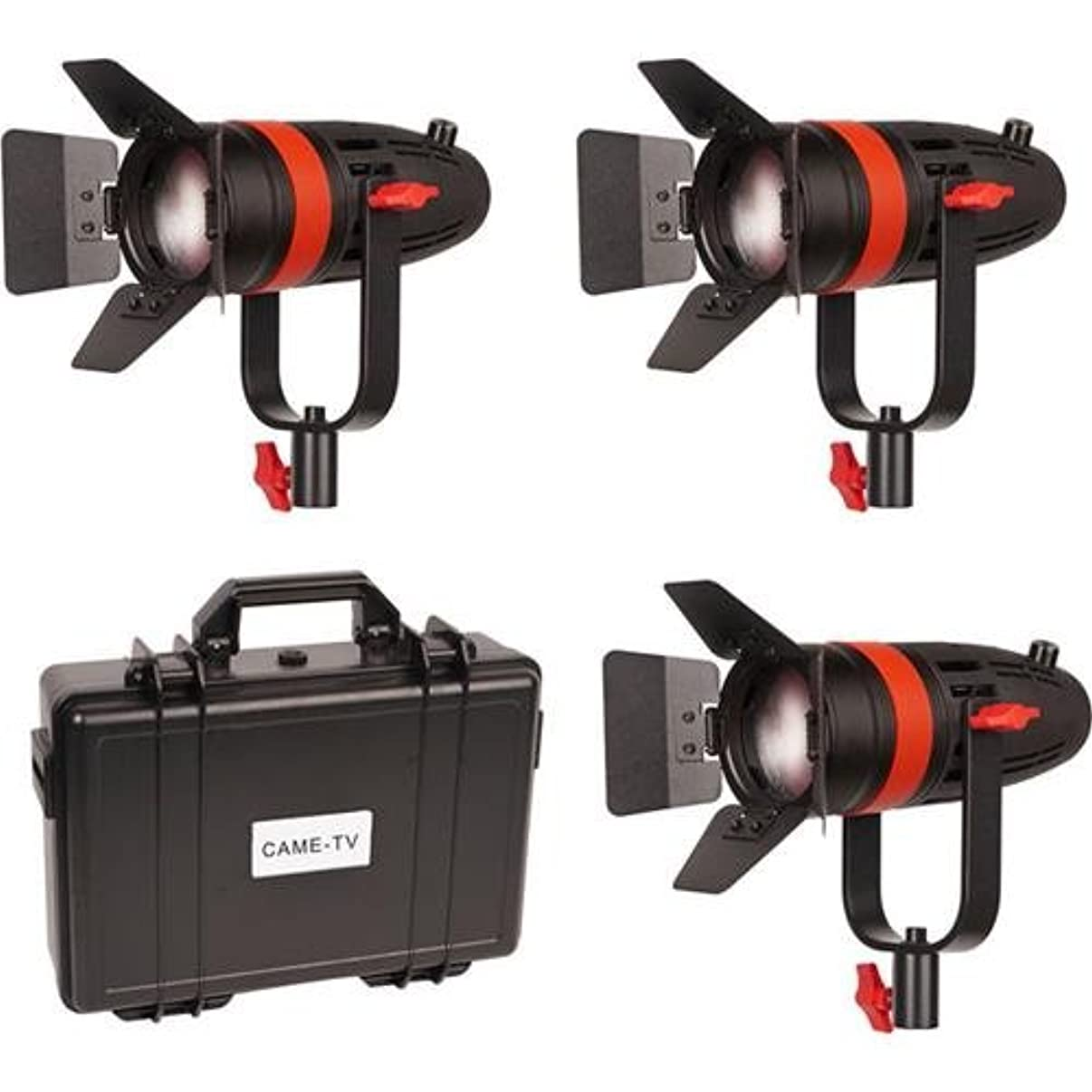Came-TV Boltzen 55W Focusable LED Fresnel 3-Light Kit, Includes 3x Soft Filters, 3x Milky-White Filters, 3x Orange Filters