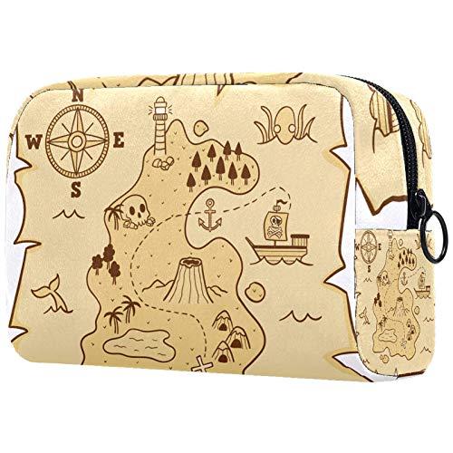 Bolsa cosmética bolsa de aseo bolsas de viaje bolsa de negocios impermeable dibujado a mano mapa del tesoro pirata