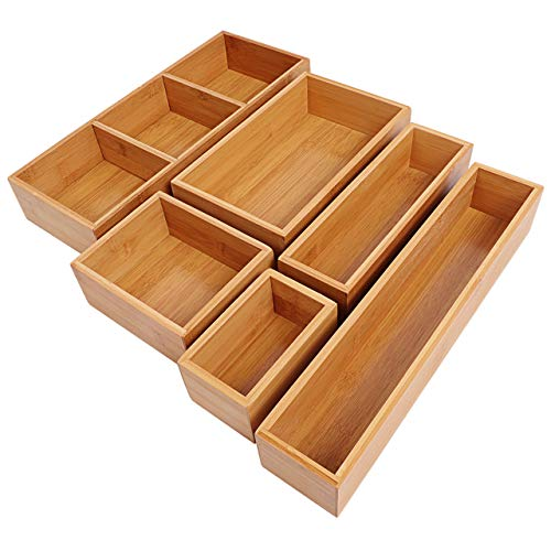 Kootek 6-Piece Bamboo Kitchen Drawer Organizer, 8 Compartments 100% Pure Bamboo Cutlery and Utensils...