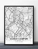 Leinwand Bild,Stadt Kuala Lumpur Karte Abstrakte Einfache