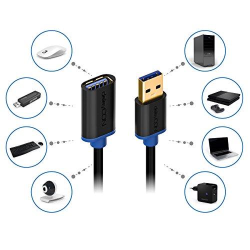 deleyCON 1m USB 3.0 Super Speed Verlängerungskabel - USB A-Stecker zu USB A-Buchse - USB 3.0 Super Speed Technologie bis zu 5Gbit/s - Schwarz/Blau