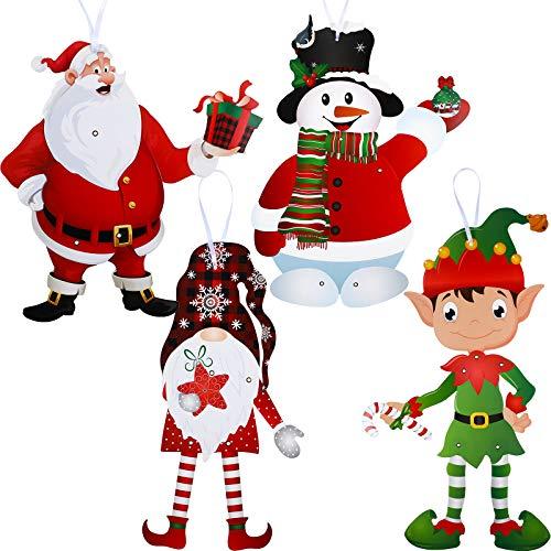 4 Juegos Decoraciones de Fiesta de Navidad de Gnomos con Figuras Articuladas, Recortes de Muñeco de Nieve Santa Elfos Decoración Pared Señal de Navidad de Colgante de Puerta