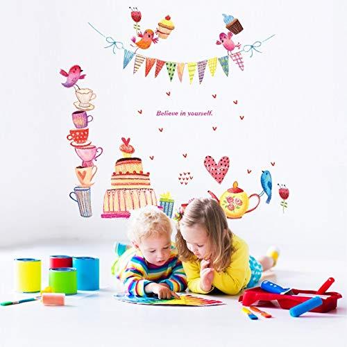 Pegatinas, dibujos animados, pastel, tetera, fiesta de cumpleaños, niños, mural, enfermera, argot, pegatinas, decoración, regalo, jóvenes, pegatinas, imagen impresa, vinilo, etiqueta de la ventana,
