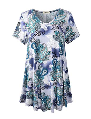 LARACE Tunics Short Sleeve Plus Size Tops for Women V Neck Floral Loose Fit Flowy Clothing(A-Green03 L)