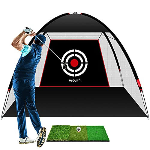 VICUR Golf Nets Golf Practice Net Golf Hitting Net 10x7 feet with Golf Hitting Mat & Golf Balls Packed in Carry Bag for Backyard Driving Indoor Outdoor