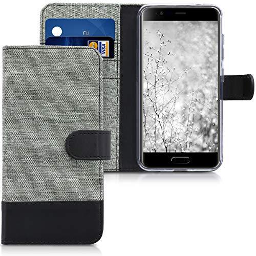 kwmobile Blackview P6000 Hülle - Kunstleder Wallet Case für Blackview P6000 mit Kartenfächern & Stand - Grau Schwarz