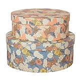 Soul & Lane Decorative Storage Cardboard Boxes with Lid (Set of 2, Floral Elegance) | Vintage Floral Paperboard Nesting Box Set for Organizing