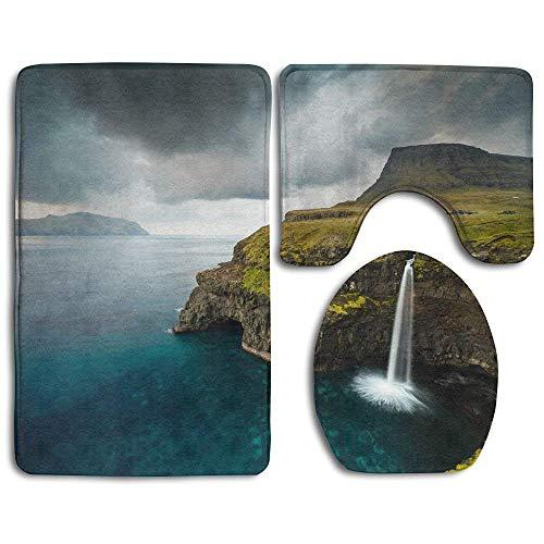 N\A Juego de alfombras de baño a la Moda de Las Islas Feroe, 3 Piezas, Almohadillas Antideslizantes, Alfombrilla de baño + Contorno + Tapa de Inodoro