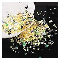 MINGTAI 10g /ロットクリスタルネイルスパンコール混合スターハートプラムフレークスパンコールネイルアートマニキュアのためのパレット (Color : JG Yellow Highflash)