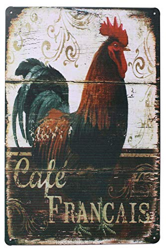 ARTCLUB Happy Chickens, Rooster Retro Metal Sign Plate, Antique Plaque Rustic Poster Kitchen Cafe Dining Room Home Wall Decor (Dark Red)
