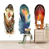 Msrahves fotomurales xxl Colorido elegante pluma creativo pared vinilos decorativos papel fotografico 3D Fondos de pantalla Fondo Pared Sala de estar Dormitorio TV Sofá Mural Papel tapiz