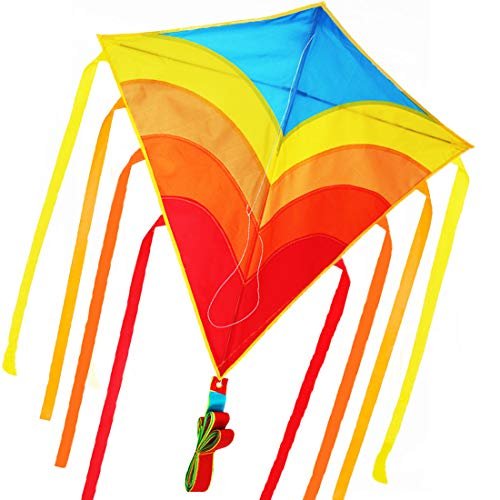 ZHUOYUE Rainbow Diamond Kite for Kids and Adults, Single Line Easy Kite for Beginner witn Long Tail, Best Kite Flying for Outdoor Games Activities