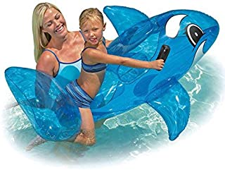 Pool Outdoor Beach Swimming Fun Play Whale Rider with small Whale Splash Toy and Ring Pool Beach Inflatable Float (Bundle of 3)