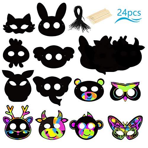 PATAZOK Scratch Arte para Niños 24pcs Máscaras de Papel Animal, 24 Piezas de Cuerda Elástica y 12 Piezas Bolígrafo de Madera Máscara de Animal Tema Fiesta Herramientas de Pintura