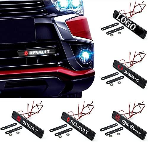 Emblema del capó delantero del coche LED de la lámpara de la ligera de la placa de la placa del emblema de la rejilla del coche LED compatible con Ford Focus 2 3 1 4 Fiesta Fusion MK2 MK4 MK3 MK7 Kuga