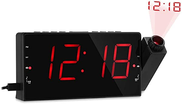 ISHEEP Projection Alarm Clock For Bedroom AM FM Radio Sleep Timer 180 Projector 7 Large Digital LED Display Dimmer Dual Alarms USB Charger Battery Backup Desk Wall Ceiling Plug In Clock