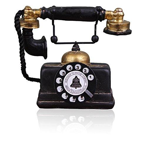 Teléfono antiguo creativo retro decorativo teléfono resina rotatorio marcación teléfono decoración café bar ventana decoración decoración decoración del hogar accesorios (negro)