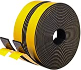 Fowong Self Adhesive Foam Tape 25 mm Wide x 3 mm Thick Closed Cell Weather Stripping Seal for Window and Door Anti-Collision Total 10M Long (2 Rolls of 5M Long Each)