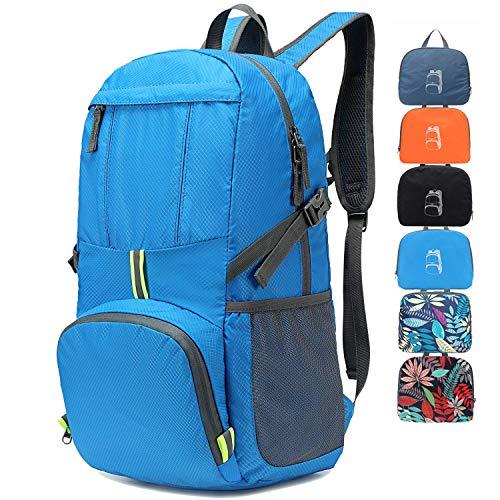MRPLUM 30L-35L Rucksack Foldable Ultralight Packable Backpack, Unisex Durable Handy Daypack for Travel & Outdoor Sports Durable & Waterproof (Blue-2)