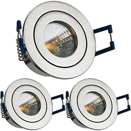 3er IP44 LED Mini Einbaustrahler Set in Silber gebürstet mit LED MR11 / GU5.3 Strahler von LEDANDO - 2W - warmweiss - Bad/Dusche - Terrassendach - Wintergarten