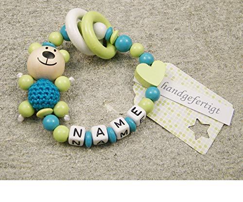 Baby Greifling Beißring geschlossen mit Namen - individuelles Holz Lernspielzeug als Geschenk zur Geburt Taufe - Mädchen Jungen Motiv Bär und Herz in lemon grün