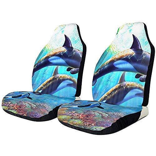 2PCS Ocean Underwater Coral Dolphins autostoelen voorstoelen alleen hoezen beschermende koffer Universal voor limousine-UV-Van
