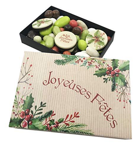 CHOCOLAT NOEL - COFFRET LISEA MM personnalisé Joyeuses fête - CHOCOLAT ARTISANAL 165g - COFFRET CADEAU CHOCOLAT Joyeux noel