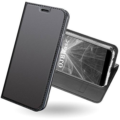 OnePlus 5T Hülle,OJBKase Premium Slim PU leder Handy Schutzhülle [Standfunktion] Hülle / Cover / Brieftasche / Ledertasche Bookstyle Tasche Lederhülle Handyhülle für OnePlus 5T (Schwarzgrau)