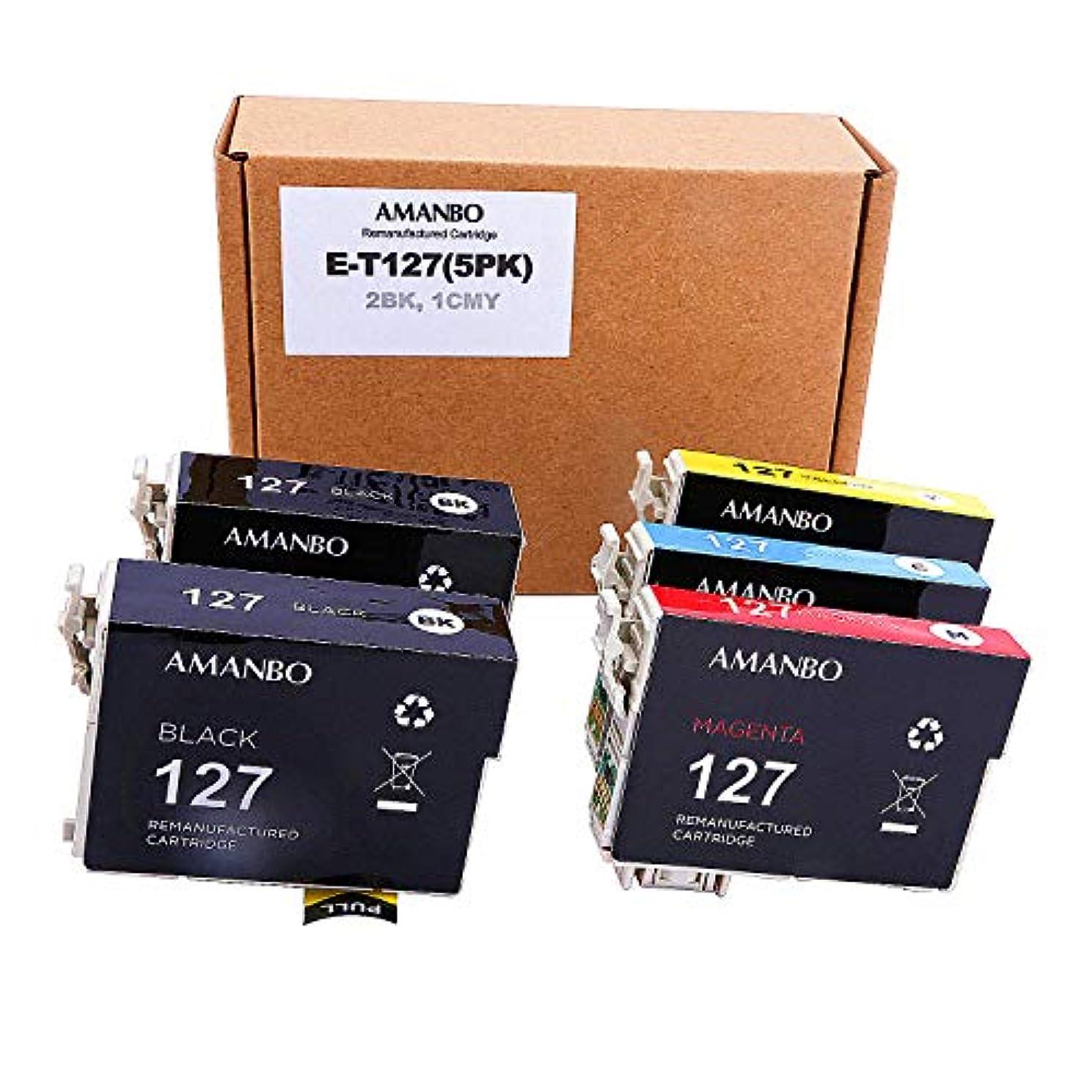 Amanbo Remanufactured Ink Cartridges Replacement for Epson 127XL T127 to use with NX530 NX625 WF-3520 WF-3530 WF-3540 WF-7010 WF-7510 WF-7520 545 645 (2 Black, 1 Cyan, 1 Magenta, 1 Yellow)