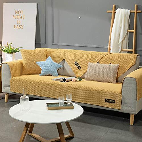 YUTJK Couvercle de canapé de Tapis d'été Respirant,Housse de Canapé d'angle avec Accoudoirs Housse de Canapé Modèle L Canapé Protecteur Évolutif,Jaune_70×90cm