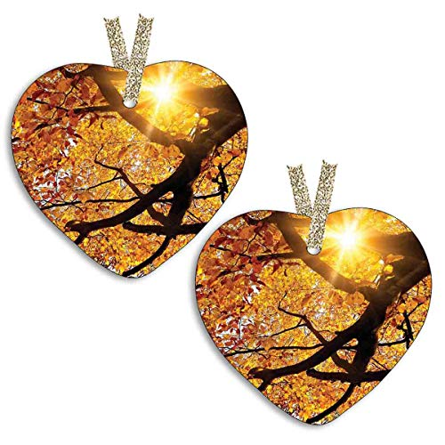 YiiHaanBuy 【2 Pieces! 】 Heart Shaped Ceramic Decoration - Sun Through Leaf Golden Yellow Vivid October Foliage Harvest Serene Paradise Boxes,Christmas Decorations,The Best Gifts.