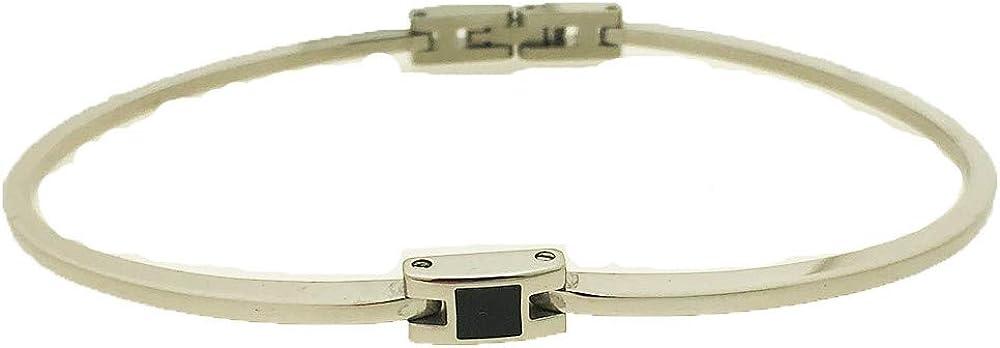 Rebecca bracciale rigido in acciaio con inserti smalto nero OSMBXX61