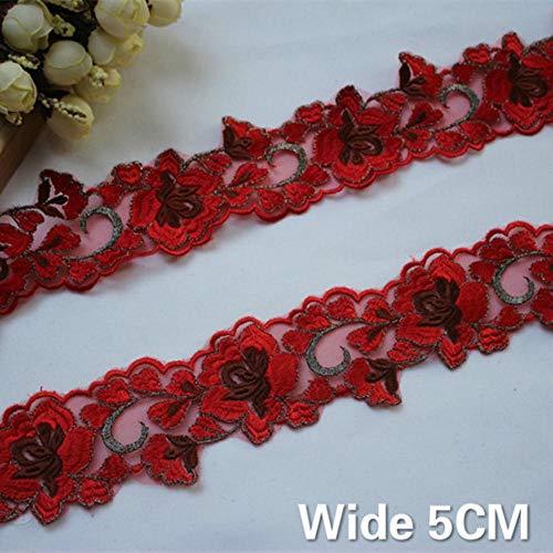 5cm brede rode mesh stof bloemen geborduurde kant rand trim lint applique guipurekant diy gordijnen jurk kleding naaien decor