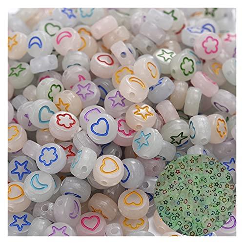 YINCHIE 100 piedras preciosas sueltas de 4 x 7 mm, cuentas de acrílico redondas de corazón, estrella, flor, espaciador luminoso, joyería para hacer pulsera, pendientes, collar AN817
