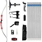 Bkisy Recurve Bow Set 20 28 32 36 38lbs Archery Bow Aluminum Alloy Takedown Recurve Bow Right Hand Bow with 12 Arrows for Adults Youth Hunting Shooting Practice Competition (Red, 24 LBS)