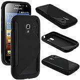 ebestStar - Funda Compatible con Samsung Ace 2 Galaxy i8160, S7560M Carcasa Gel Silicona Gel TPU Motivo S-línea, S-Line Case Cover, Negro [Aparato: 118.3 x 62.2 x 10.5mm, 3.8'']