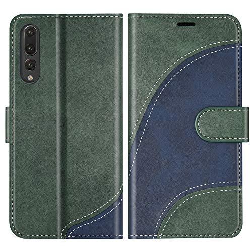 BoxTii Cover per Huawei P20 PRO, Custodia in PU Pelle Portafoglio per Huawei P20 PRO, Magnetica Cover a Libro con Slot per Schede, Verde