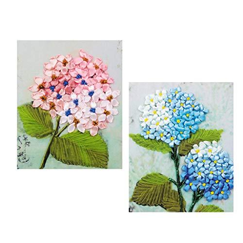 Kit De Bordado De Cinta De Seda De Bricolaje para Adultos Floral DIY Decoración De Pared Kit De Bordado De Cinta De Seda con Instrucciones En Inglés -