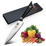 SHAN ZU Couteau de Damas de Santoku en Acier Damas Japonais 67 Couche Acier Couteaux de Cuisine - PRO Series