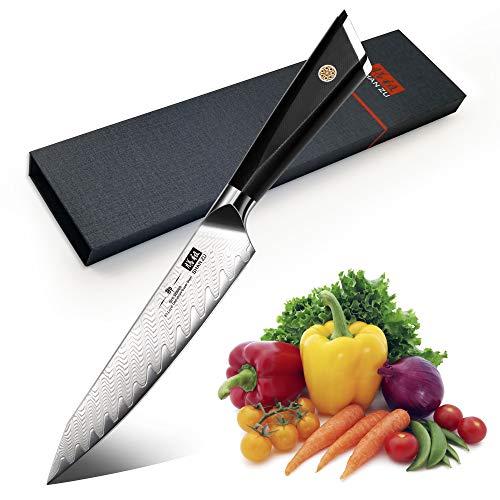 SHAN ZU Kochmesser Allzweckmesser Profi 15cm 67 Schichten Damaststahl Küchenmesser mit G10 Griff