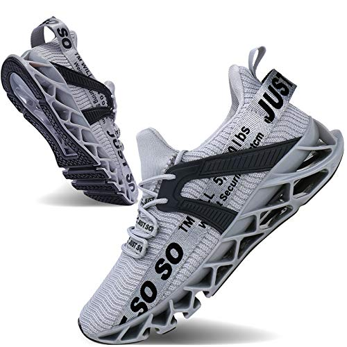 JSLEAP Men Running Shoes Walking Athletic for Men Casual Slip Fashion Sports Outdoor Shoes (Gray, 6.5)