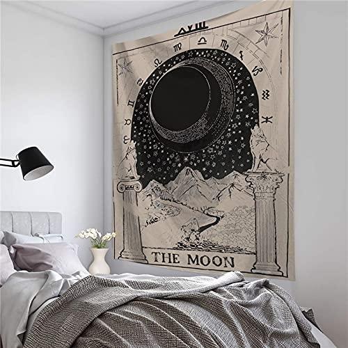 PPOU Mandala Tapiz Colgante de Pared Decoración de Dormitorio Colcha Sol y Luna Decoración de Pared A1 73x95cm