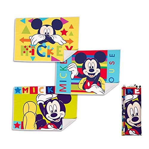 Disney Mickey Set de 3 serviettes de bain en éponge pour visage 2053 Multicolore 40 x 30 cm