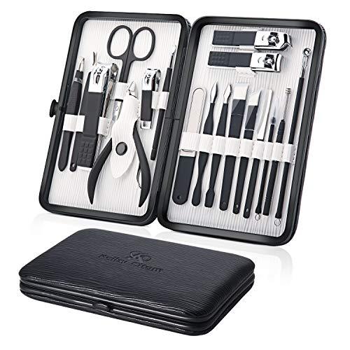 Profesional Cortaúñas Acero Inoxidable Grooming Kit - Set de 18 Piezas para Manicura y Pedicura Limpiador Cutícula con Bonita Caja (Negro)