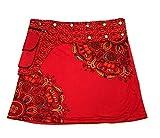 Ethnique Mode Falda para mujer de algodón estampado étnico talla única falda corta a presión tamaño ajustable con botones a presión bohemios gitanos bohemios bohemios