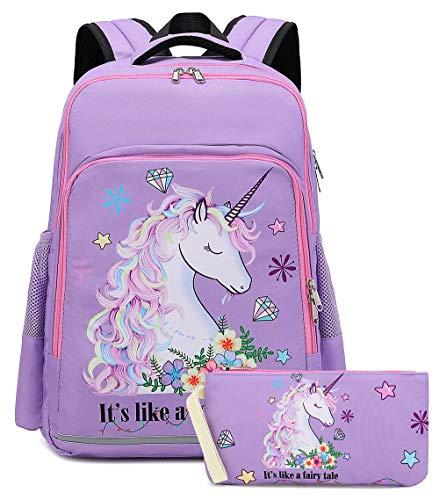 Girls Backpack Elementary Kids Fairy Bookbag Girly School bag Children Pencil Bag (Purple - Fairy tale unicorn 2pcs)