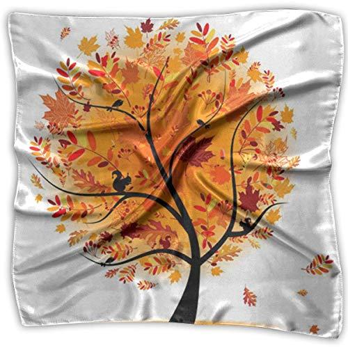 IMERIOi Maple and Birds Bedruckter Seidenschal Quadratisches kleines Taschentuch Taschentuch trend 8231