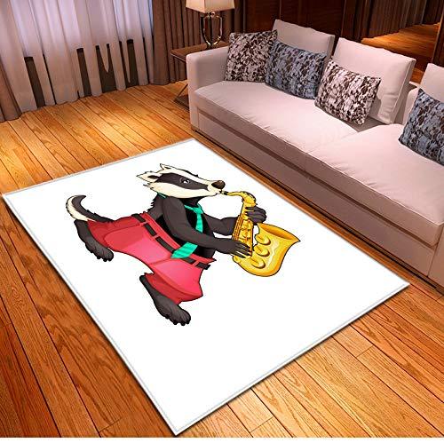 Cartoon Tier Teppich, Niedlichen Wolf Saxophon Muster Wohnzimmer Rutschfesten Großen Teppich, Spielzimmer Schlafzimmer Kinder Spielzeugmatte 120cmx170cm