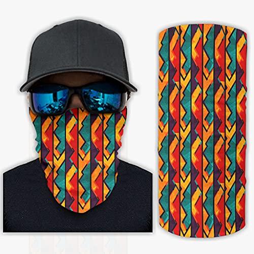 CCMugshop Bandanas para la cara, étnico, africano, geométrico, sin costuras, con estampado, transpirable, color blanco, talla única
